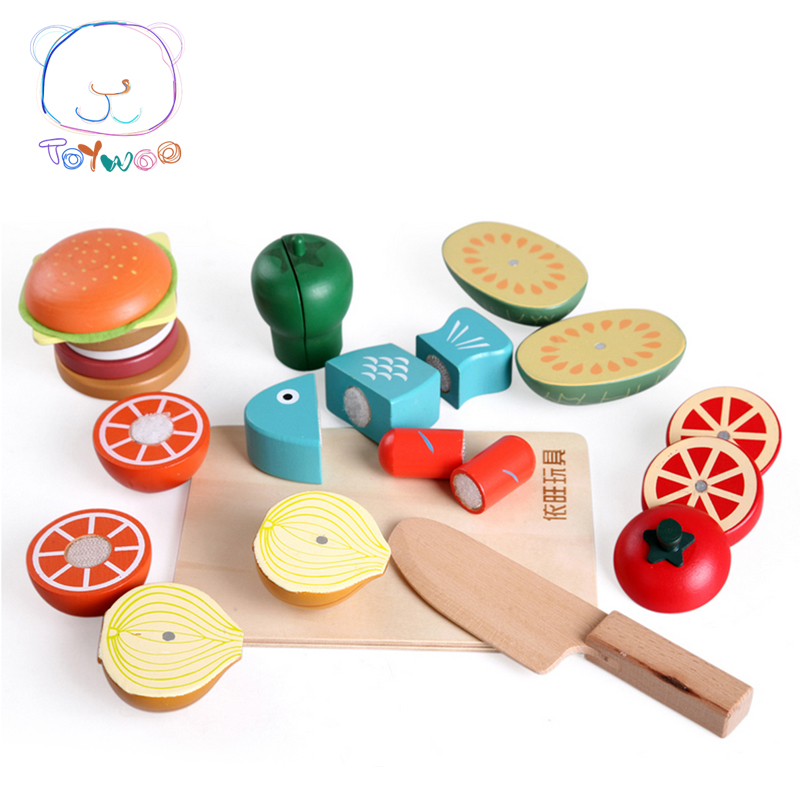 Juguetes Assembly Food Wood Toys Simulation Fruit And Vegetable Slice Toy Magnet Single Sold Classic Pretend Play Unisex