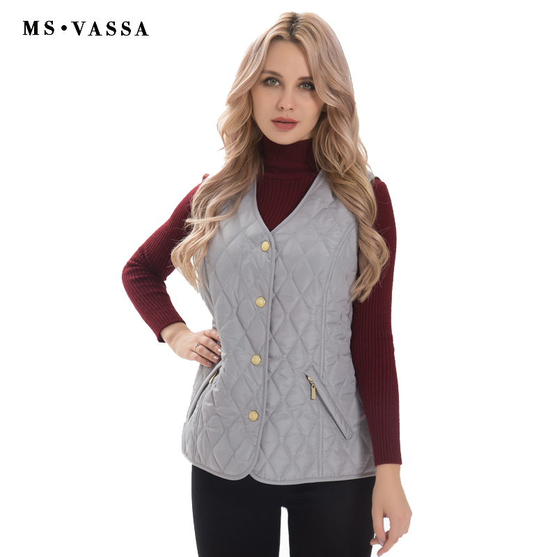 MS VASSA Mulheres Colete básico Outono Inverno Feminino colete sem mangas acolchoado Jacket lady casual marca casacos plus size 5XL 7XL
