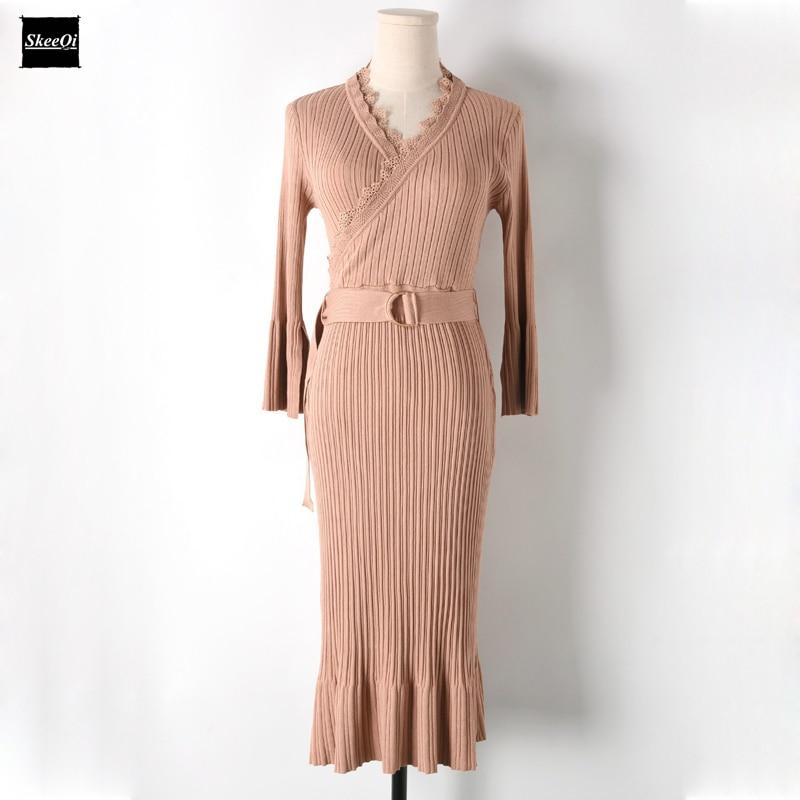 2018 New Slim Basic Knit Sweater Dresses Women Runway Design Half Sleeve Eyelash Knitted Office Casual Dress Knitwear Vestidos