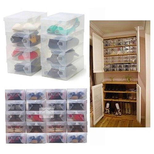 10 x Clear Plastic Shoe Storage Transparent Stackable Foldable Tidy Organizer Box