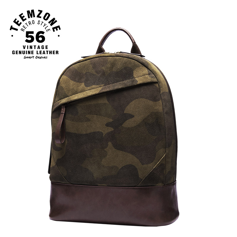 Famous Brand Designer High Quality Man Camouflage Green Leisure Backpack Genuine Leather Fashion Zipper Man Travel