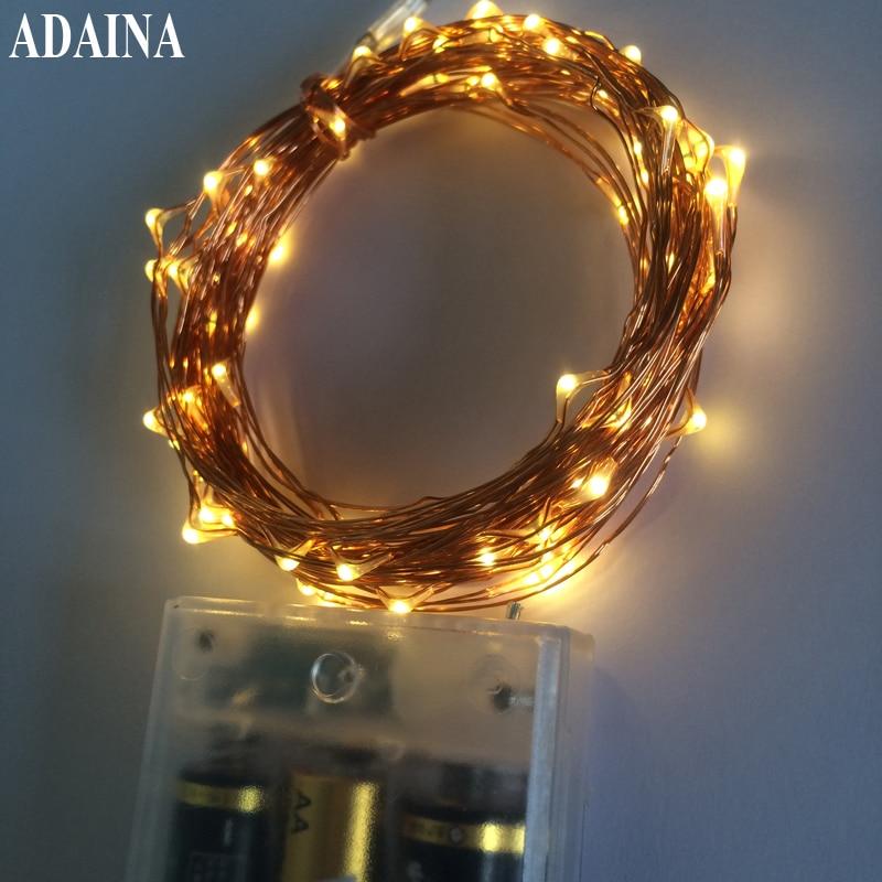 3/5 / 10M Batteridrevet String LED Lights Kobber Wire String Pærer Udendørs Vandtæt Fairy Lys Bryllup Juledekorationer