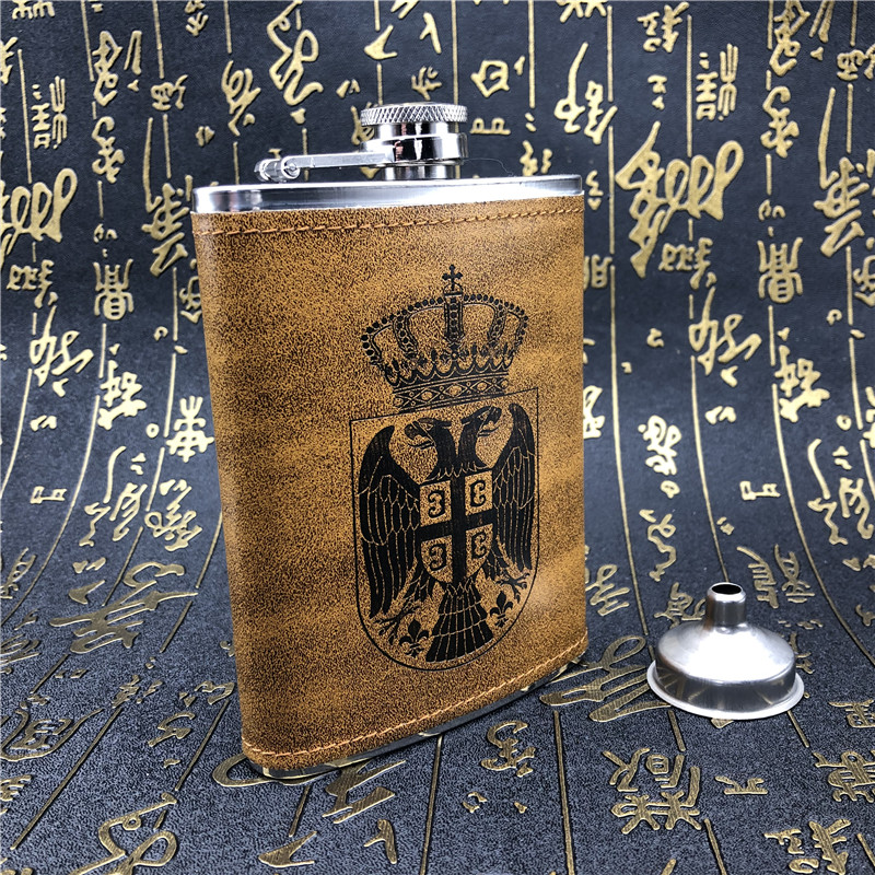 Alalinong A21 Yellow Pear Color Pu Leather Stainless Steel Hip Flask 8 OZ Liquor Whiskey Pocket Flask Wine Flagon Bottle Funnel