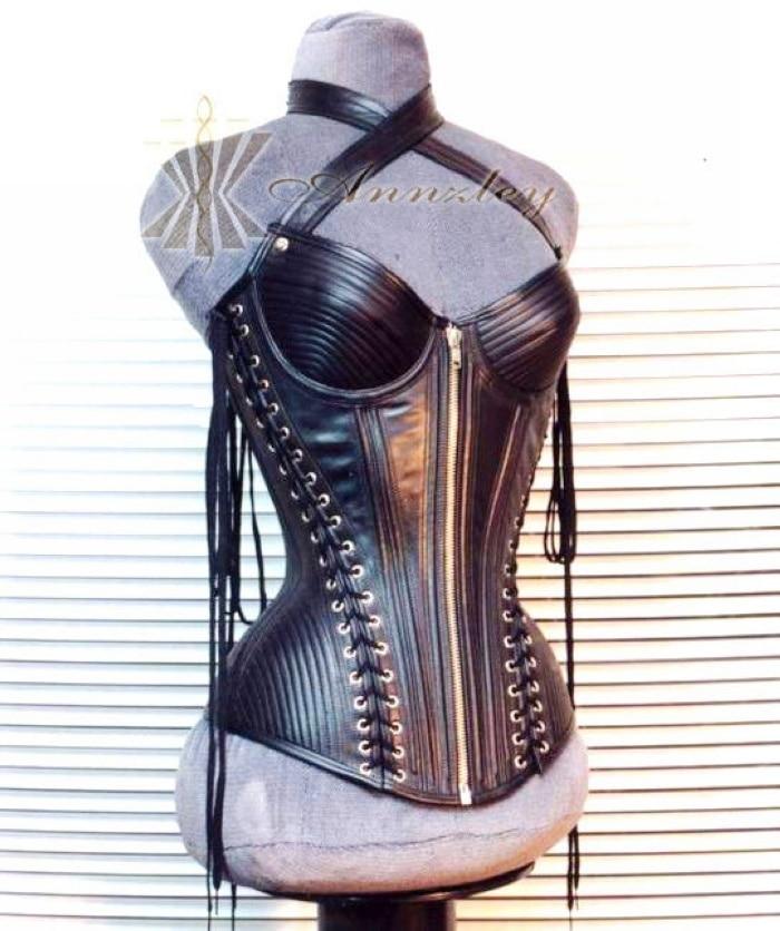 Black Luxury Top Grain 100 Genuine Leather Corset Strap And Lacings Waist Slimming Corset