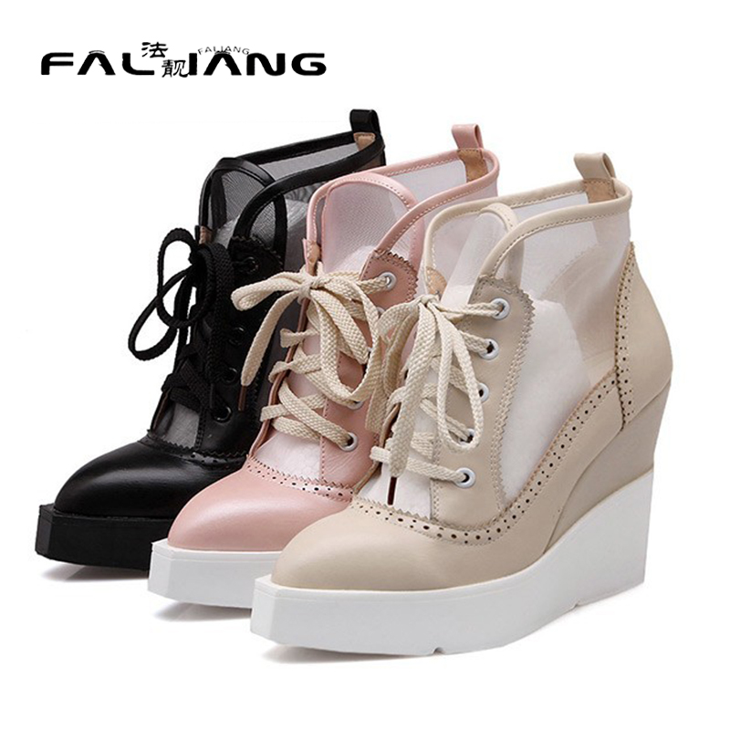 ФОТО 2017 summer new mesh punk retro wedge women sandals pointed waterproof women sandals comfortable breathable women sandalsE123