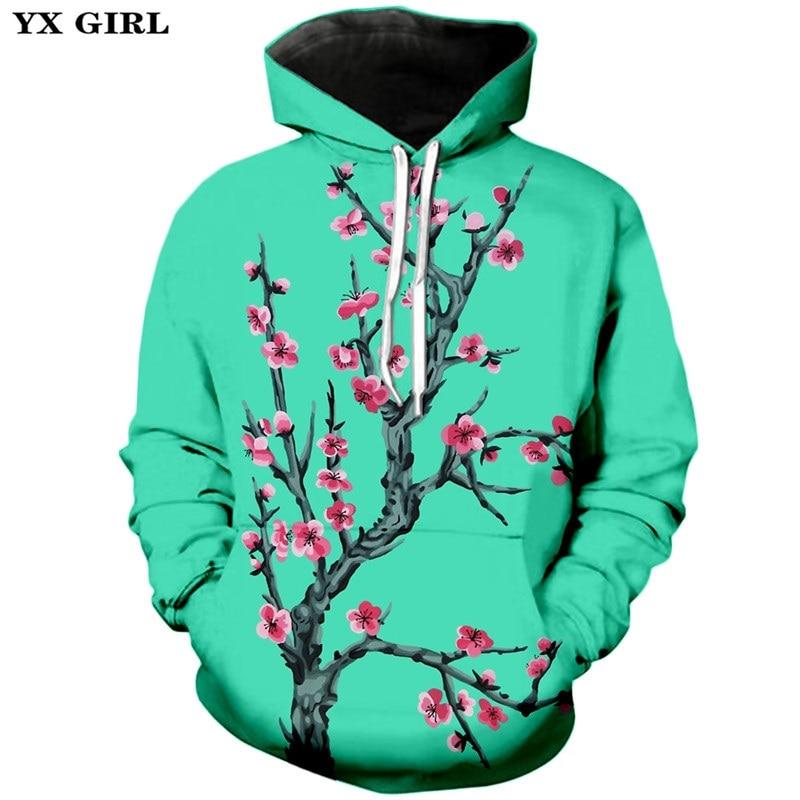 Romantic Japanese Sakura Flower Cherry Blossoms Tree Women Pullover Hoodie S-5XL