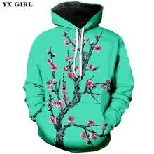 YX Girl Women Men 3d Print Flower Hoodie Hooded Sweatshirt Plum Blossom/Cherry Blossom Sakura Printing Zipper Hoodies Unisex