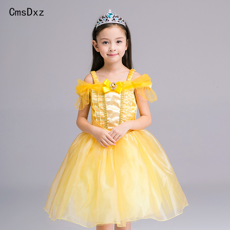 CmsDxz Princess Bell dresses Girls Dress Beauty and The Beast Ball Gown Cosplay Dress Kids Carnival Costume Halloween Costumes аксессуары для косплея random beauty cosplay