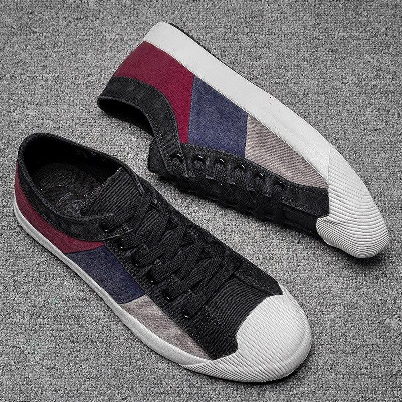 2019 New Men's Canvas Vulcanized Shoes Mixed Color Fashion Men's Leisure Shoes Spring/Autumn Patchwork Cloth Men Sneakers Shoes 4
