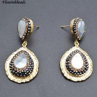 New Design White Shell Drop Anti Rust Gold Color Plating Metal Copper Pear Dangle Earrings Popular