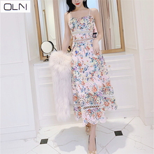 OLN dress Korean vestidos  summer new arrival Carved hole lace embroidery print hollow sexy hanging seaside holiday party
