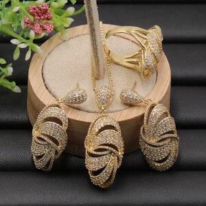 Image 2 - Lanyika תכשיטי סט גדול גיאומטריה חלול סגלגל מיקרו סלול שרשרת עם עגילים Rinfor יום נישואים אירוסין יוקרה מתנות