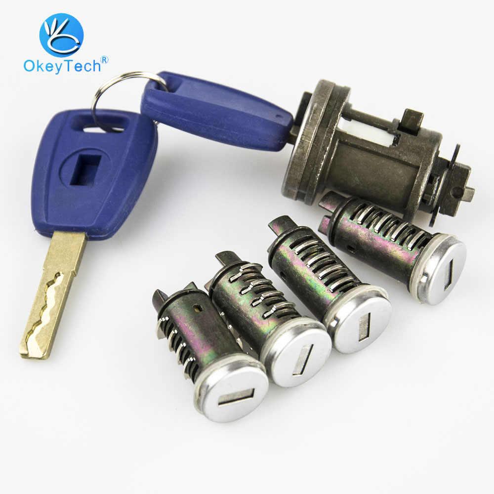 Juego de cerradura de encendido de coche OkeyTech para Fiat Ducato Peugeot Citroen SIP22 cuchilla Puerta de llave de coche Original cilindro de molienda cerradura de maletero