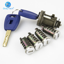 OkeyTech Car Ignition Lock Set For Fiat Ducato Peugeot Citroen SIP22 Blade Car Key Door Original Milling Cylinder Trunk Lock