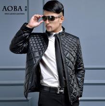 Черный синий 2016 теплый человек pu куртка стоять воротник моды короткий кожа вниз пальто мужские зимние куртки и пальто вниз & парки мужчины