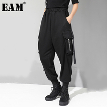 [EAM] 2019 חדש סתיו החורף גבוהה אלסטי מותניים שחור כיס פיצול משותף סרט רופף הרמון מכנסיים נשים מכנסיים אופנה JQ015