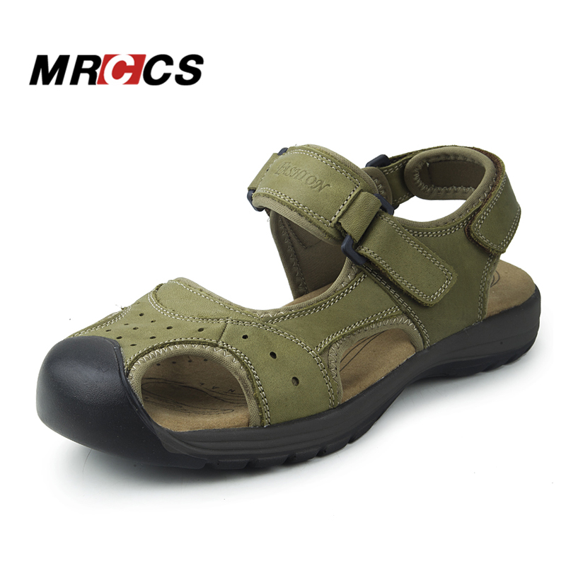 MRCCS New Manly Charms Summer Sandals,Trendy Simple Green/Brown Casual Shoes For Men,Wearable Genuine Leather Thick Rubber Sole