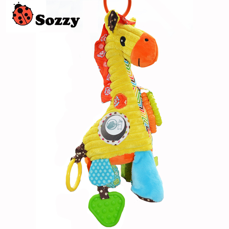 NEW Hot high quality  giraffe baby plush toy rattle multifunctional pull the music placate toy bed hang WJ177 baby toys rattle tinkle hand bell multifunctional plush stroller mobile toy gifts