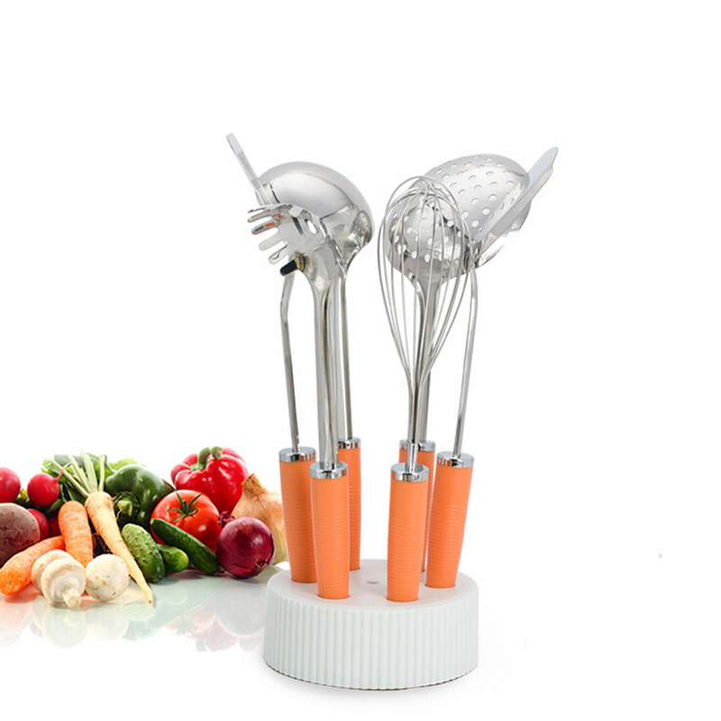 Ensemble d'outils de cuisson de haute qualité en acier inoxydable de 7 pièces ensemble de cuisson multifonctionnel avec batteur à oeufs et support livraison gratuite