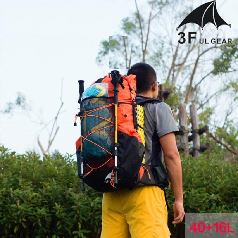 Mochila de senderismo resistente al agua con engranaje 3F UL Paquete de Camping ligero para montañismo de viaje mochila de senderismo 40 + 16L - 3