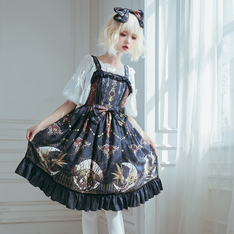 Lunar Altar Retro Gothic Lolita Dress Vintage Printed Midi Party Dress