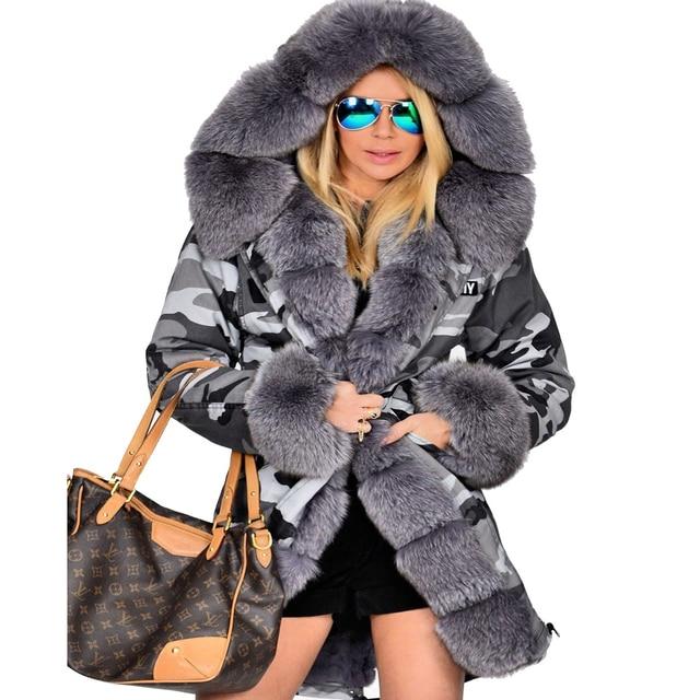 6dec46c1be74 Roiii Thickened Warm Grey Faux Fur Camouflage Parka Fashion Luxury Women  Hooded Long Winter Jacket Overcoat EU SIZE S-2XL-3XL