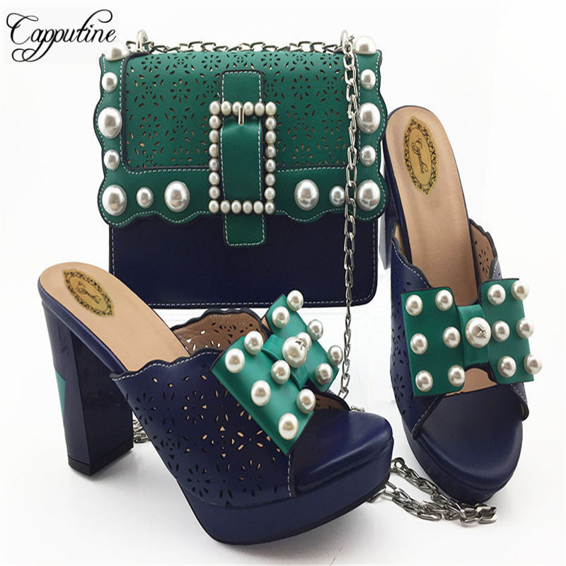New Fashion Italian Rhinestone Double Color Shoes With Bags Set African High Heel Women Shoes And Bag Set For Evening Party M008New Fashion Italian Rhinestone Double Color Shoes With Bags Set African High Heel Women Shoes And Bag Set For Evening Party M008