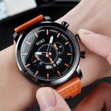 SOKI Business Fashion Mens Watches Sports Honorable Luxury Leather Strap Quartz Men Watch Casual Sport Clock Male Wristwatch