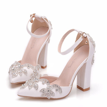 White Pu Leather Women Pointed Toe Sandals Square High Heels Wedding Party Dress Ankle Strap Summer Female Shoes XY-B0225