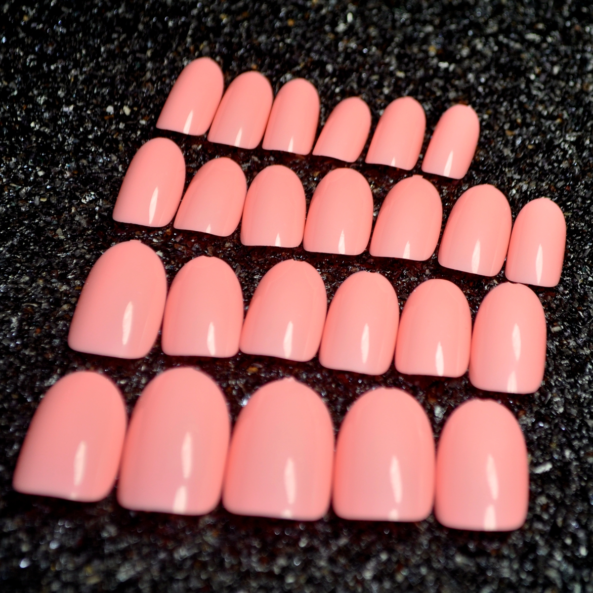 ⃝Shine False Oval Nails Candy Color Nail Peach Pink Artificial Nail ...