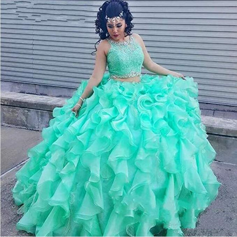 US $165.0 |Ball Gown Mint Green 2 Piece Quinceanera Dress Plus Size  Quinceanera Gowns Sweet 16 Dresses Chuches-in Quinceanera Dresses from  Weddings & ...