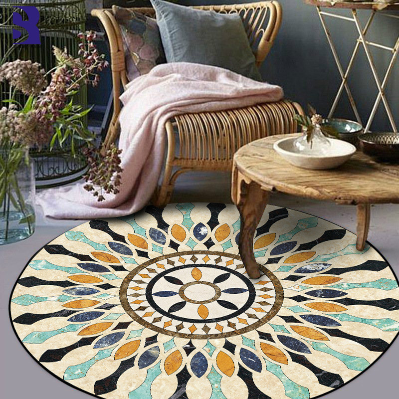 SunnyRain 1-piece Round Rugs Area Rug For Living Room Bedroom Rugs Slipping Resistance