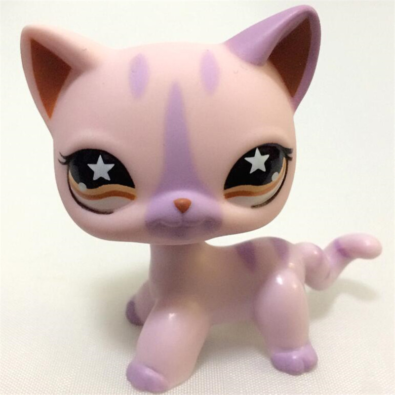 pet shop Short Hair kitty animal toys Purple kitten yellow eyes Original Standing Cat Kids Gift free shipping pet shop toys dachshund 932 bronw sausage dog star pink eyes