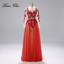 Длинные рукава Платье для выпускного с аппликациями торжественное платье vestido de festa длинное платье для выпускного вечера Большие размеры