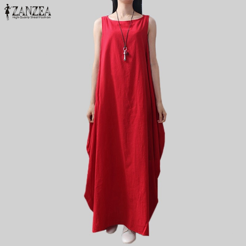 Casual Retro szilárd nyári ruha 2018 ZANZEA nők elegáns laza ujjatlan ruha pamut vászon hosszú Maxi ruha Vestidos Plus méret
