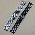 Muitos tamanho 14mm 16mm 18mm 20mm 22mm Tiras Watchband Pulseira relógios acessórios de Prata Preto polido ligação sólida para homens horas