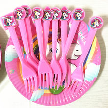 unicorn theme party forks spoons knives baby shower unicorn spoons kids birthday party decoration unicorn knives forks(China)
