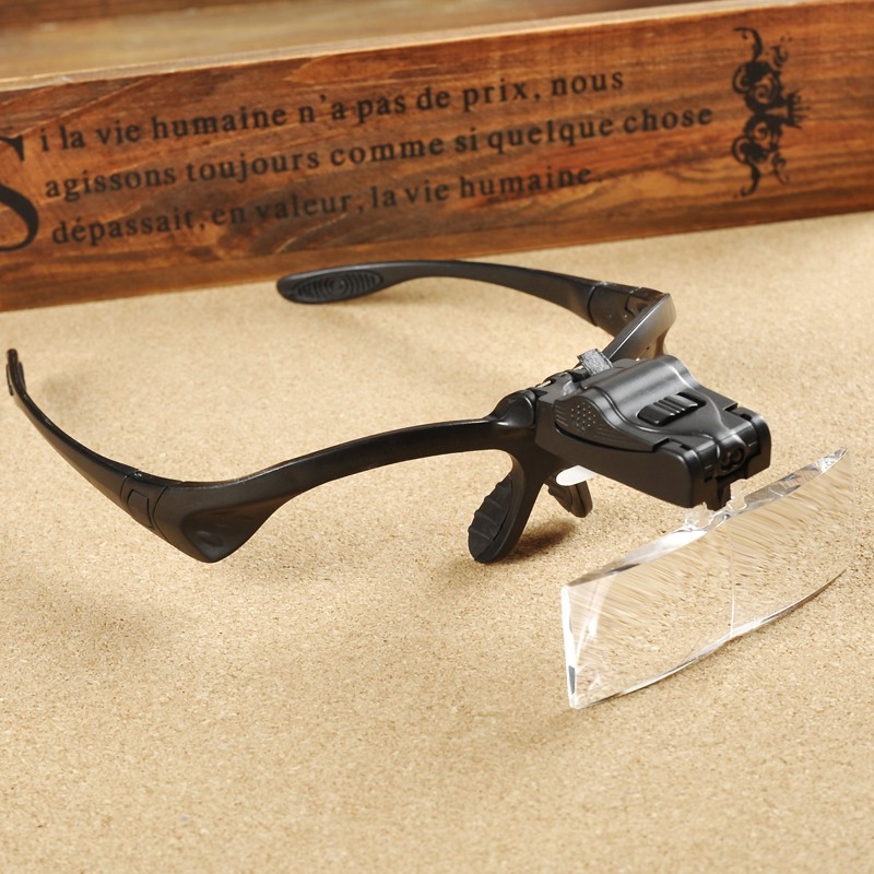 цены  Headband Headset LED Head Light Magnifier Magnifying Glass Loupe 5 Lens Set