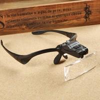 Headband Headset LED Head Light Magnifier Magnifying Glass Loupe 5 Lens Set