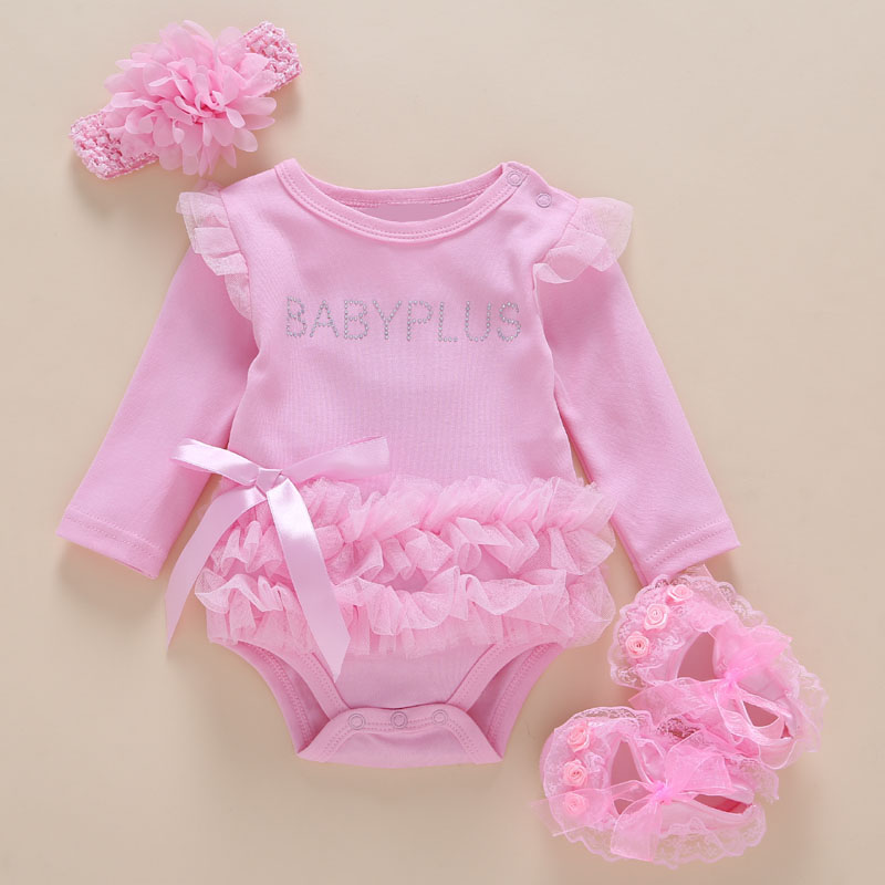 Babybody 3PCS / pack 0-2 Years Bomull Barn Baby Girl One-Piece With Long Sleeve Baby Bodysuit Infant Jumpsuit