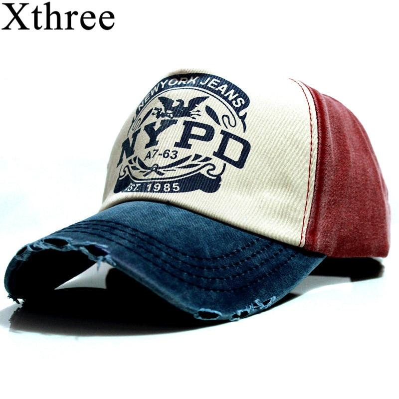 Xthree wholsale marca cap chapéu Ocasional cap gorras boné de beisebol cabido 5 painel de hip hop chapéus snapback cap para mulheres dos homens de lavagem unisex