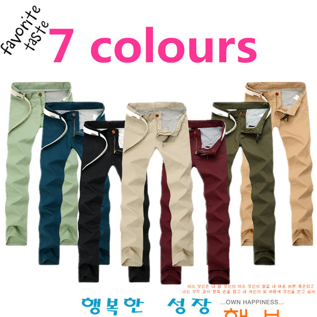 Plus Size Mens Slim Straight Chino Pants Darked Wash Jeans  Mens Slim Chinos Casual Pants Black,Army Green,Khaki 7Colours  501