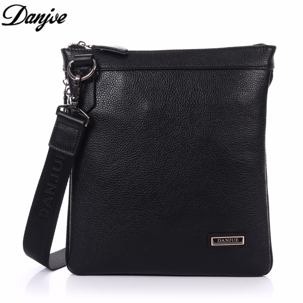 DANJUE Simple Classic Black Man Genuine Leather Shoulder Bag Travel Satchels Business Messenger Bags Man Crossbody Bags D8018-5
