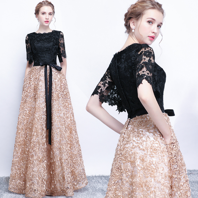 Evening Dresses 2018 New Elegant O-neck Lace Cut-out Half Sleeve Luxury Applique Long Noble Banquet Party Prom Robe De Soiree X 1