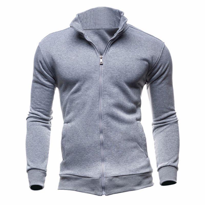 Hot sale 2018 Men Hoodies Men's sweatshirt Black Stand Collar Zipper Streetwear hoodie Top Blouse Tracksuits Cardigan