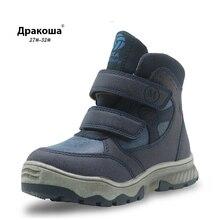 Apakowa Boys Waterproof Winter Boots Warm Plush Ankle Boots