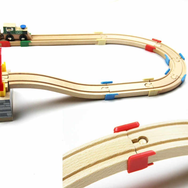 EDWONE -4 Color The Wooden Track Plastic Holder Wooden Railway Train Circular Track Accessories fit for Thomas Biro