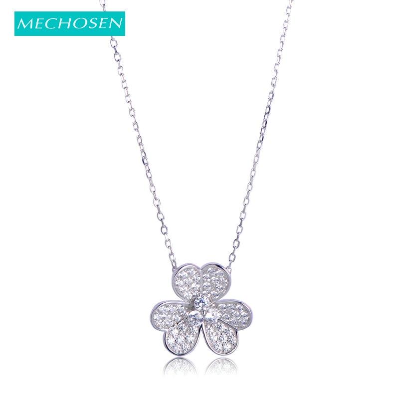 MECHOSEN Genuine 925 Sterling Silver Pendant Flower Shape Chokers Necklace Cubic Zirconia Women Girls Shiny Fine Jewelry kolye
