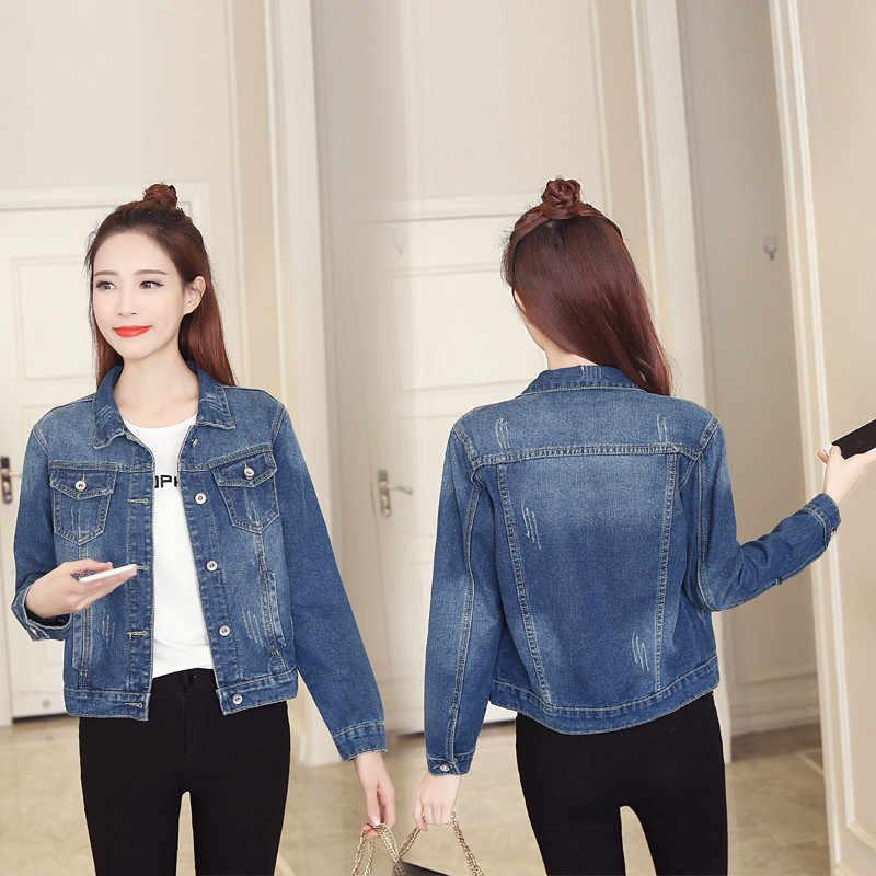 Большой Размеры Для женщин Основные куртки 4Xl 5Xl 2019 осень новый короткий Джинсовые куртки с длинным рукавом Повседневные джинсы синее пальто, верхняя одежда, пиджак R112