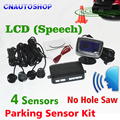 4 Sensors No Drill Hole Saw English Human Voice LCD Parking Sensor Kit Real Person Speech 22mm Car Reverse Radar